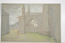 Dessin Original n.s Pastel Marguerite DUBOIS XX° Eglise DOL de Bretagne