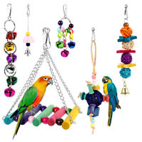 6x Small Parrot Bird Pet Toys Budgie Cockatiel Chew Ladder Swing Toy Perch Cage