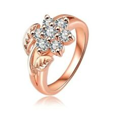 18 K Rose Gold Filled Cubic Zirconia Flower Ring Size 8