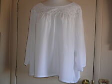 Women's Blouse Salon Studio Sz XX 3/4 Sleeve Tunic  Peasant Style Rayon White
