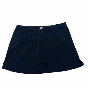 Swim by Cacique Black Solid Bottom Slitted Skort Swim Skirt Women's Size 16