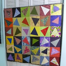 Crazy Triangles Square Wall Hanging Quilt Handmade Lap Baby Quilt 4 Ft Bright