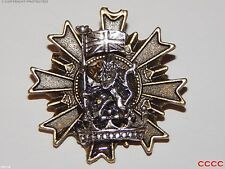 Lo Steampunk Goth Spilla Badge SILVER LION standard Flag Royal Crown Crest Cosplay