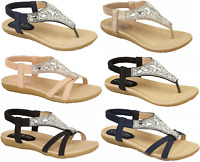 Ladies Sandals Diamante Summer Strappy Holiday Comfortable Pool UK Sizes 3-8