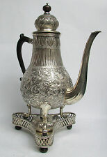 "MASSIVE ANTIQUE DUTCH SILVER 16"" COFFEE POT WITH SILVER BURNER & STAND"