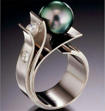 Unique Geometric Green Pearl CZ Wedding Ring 925 Silver Engagement Party Jewelry