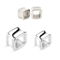"""PAIR SQUARE SURGICAL STEEL EARLET TUNNEL EAR PLUGS GAUGES 0G 00G 1/2"""" 9/16"""" 5/8"""""""