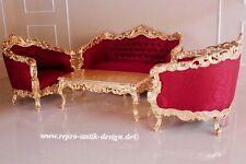 Barroco Sofá Conjunto Antiguo Macizo Hoja de Oro Muebles Tapizados Estilo Art