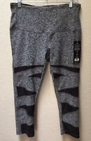 Vogo Athletica NWT Size Large Workout Leggings Black Heather NEW Mesh Insets