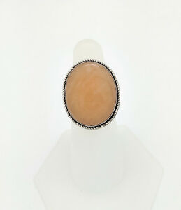 Sterling Silver Yellowish/Brown Cabochon Stone Ring Size 7
