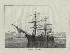 Stampa antica CORVETTA VETTOR PISANI nave a vela veliero 1881 Old antique print