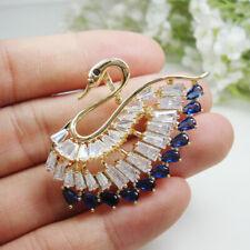 Gorgeous Blue Swan Bird Woman Pendant Brooch Pin Zircon Crystal Gold Tone