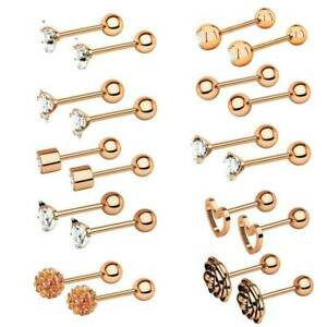 20pcs 16G Surgical Steel CZ Barbells Helix Cartilage Studs Earring Ear Piercing