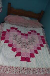"""Handmade Rag Quilt Heart Shape Pinks 50"""" x 50"""""""