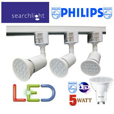 SEARCHLIGHT WHITE TRACK LIGHTING KIT SPOTLIGHTS 3 X PHILIPS 5 WATT LED GU10