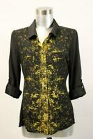 ELIE TAHARI Gold Printed SILK BLOUSE Shirt Top Roll Tab Sleeve Designer SMALL