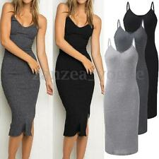 Zanzea Women V-neck Spaghetti Strap Knit Ribbed Slim Bodycon Pencil Long Dresses