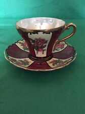 CASTLE  CHINA  JAPAN  CUP & SAUCER HEAVY GOLD GILD RED CABBAGE ROSES BURGUNDY