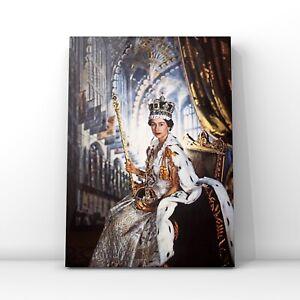 Celebrities canvas wall art Queen Elizabeth II Coronation  w/ crown and sceptre