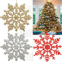 Christmas Glitter Snowflakes Decorations Xmas Tree Hanging Party Baubles Sparkle