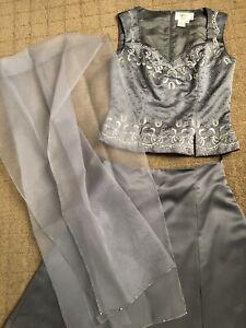 Vie Grey Embroidery/beaded 2 Piece Grey Prom/wedding/ball Gown  Dress Size 8