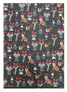 Sheet of Wildlife Safari Animals In Rudolph Antlers Wrapping Paper