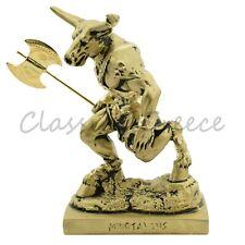 "Statue Ancient Greek Minotaur Bronze Finish 6"" - 15cm Cast Marble Mythology"