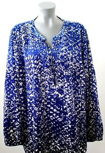 CATHERINES WOMANS BLOUSE PLUS SIZE 2X SHADES OF BLUE WHITE