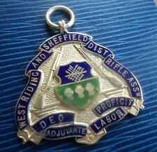Vintage Plata De Ley & Esmalte Sheffield Rifle Club-Medalla de disparo H/m 1918