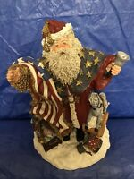 Vintage Christmas June McKenna Santa Claus Patriot Saint Nick USA Statue 1992