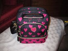 Betsey Johnson Be Mine Hot Pink  Heart Lunch Box Insulated Tote Black Fushia
