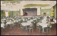 EPHRATA PA Legion Club Dining Room Vintage Linen Postcard Early Old Pennsylvania