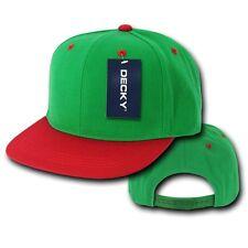 Kelly Green & Red Plain Solid Flat Bill Snapback Vintage Retro Baseball Cap Hat