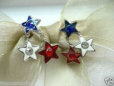Us American Stars Crystal Rhinestone Earrings 4th of July Red White Blue