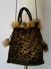 WOMENS LADIES BROWN LEOPARD VELVET FAUX FUR HANDBAG SHOULDER BAG
