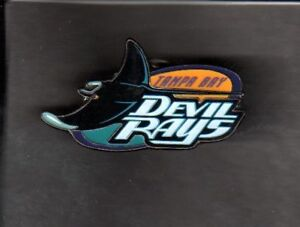 TAMPA BAY DEVIL RAYS OLD LOGO HAT PIN BACK BUTTON
