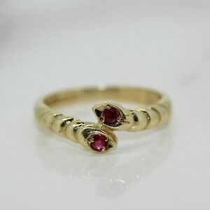 9ct Yellow Gold Ruby Snake Ring (Size M, US 6 1/4)