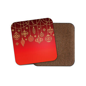 Beautiful Christmas Baubles Coaster - Red Festive Fun Gold Xmas Cool Gift #15629