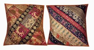 "16""-2 MUSTARD VINTAGE INDIAN SARI DECOR THROW ACCENT FLOOR CUSHION PILLOW COVERS"