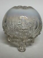 Antique Sowerby Piasa Bird White Opalescent Rose Bowl 4.25""