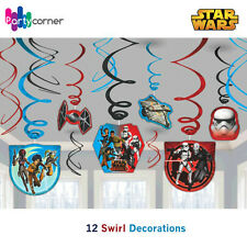 Star Wars Party Supplies SWIRL DECORATIONS Pack Of 12 Foil Hanging