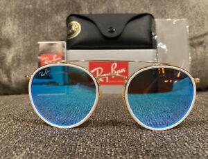 RAY-BAN RB3647N Round Double Bridge Blue Gradient Flash Lens Sunglasses NEW