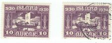 Iceland.  1930 10 aur pair - one mint - very light hinge, one used.