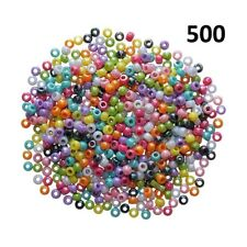 Pony Beads Plastic Assorted Colours Barrel Mixed Craft Hair Braiding 500