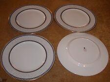 4 WEDGWOOD BONE CHINA ENGLAND COLONNADE BLACK DINNER PLATES W 4340