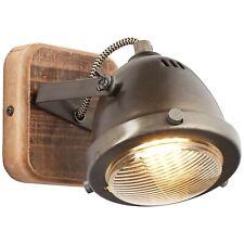 Wand Industrie Leuchte Lampe Licht Beleuchtung CARMEN WOOD metallfarbend Holz