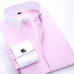Mens Long Sleeve Dress Shirts French Cuff Formal Business Work Button Down Tops