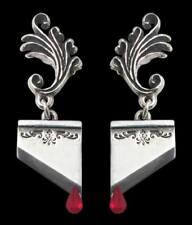 Marie Antoinette adorno guillotina pendientes rojo Blood gotas Alchemy Gothic