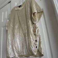 NWT Vionnet, French Designer, Shimmering Gold Lined Top , 80% Silk, Italy, US 10