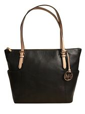 Michael Kors Jet Set East West Top Zip Black Leather Tote - NWT